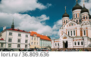 Tallinn, Estonia. Alexander Nevsky Cathedral. Famous Orthodox Cathedral... Стоковое фото, фотограф Ryhor Bruyeu / easy Fotostock / Фотобанк Лори