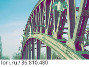 Fragment of huge metallic bridge structure in Berlin. Стоковое фото, фотограф Zoonar.com/Yury Zap / easy Fotostock / Фотобанк Лори