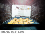 Cookies in an oven view from inside with open door. Стоковое фото, фотограф Сергей Новиков / Фотобанк Лори