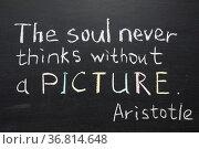 Famous Aristotle quote. Стоковое фото, фотограф Zoonar.com/Yury Zap / easy Fotostock / Фотобанк Лори