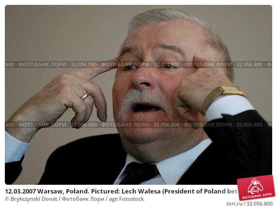 12.03.2007 Warsaw, Poland. Pictured: Lech Walesa (President of Poland between 1990 and 1995, Nobel Prize in 1983) Редакционное фото, фотограф Brykczynski Donat / age Fotostock / Фотобанк Лори