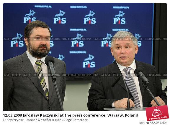 12.03.2008 Jaroslaw Kaczynski at the press conference. Warsaw, Poland. Редакционное фото, фотограф Brykczynski Donat / age Fotostock / Фотобанк Лори