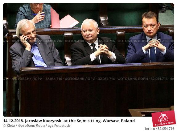 14.12.2018. Jaroslaw Kaczynski at the Sejm sitting. Warsaw, Poland. Редакционное фото, фотограф Kleta / age Fotostock / Фотобанк Лори