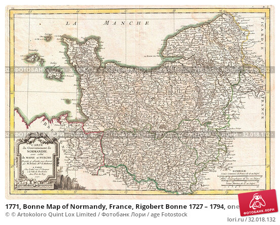 Купить «1771, Bonne Map of Normandy, France, Rigobert Bonne 1727 – 1794, one of the most important cartographers of the late 18th century», фото № 32018132, снято 25 января 2017 г. (c) age Fotostock / Фотобанк Лори