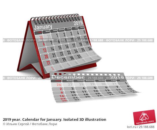 Купить «2019 year. Calendar for January. Isolated 3D illustration», иллюстрация № 29188688 (c) Ильин Сергей / Фотобанк Лори