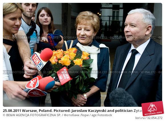 25.08.2011 Warsaw, Poland. Pictured: Jaroslaw Kaczynski and politician Zyta Gilowska. Редакционное фото, фотограф BE&W AGENCJA FOTOGRAFICZNA SP. / age Fotostock / Фотобанк Лори