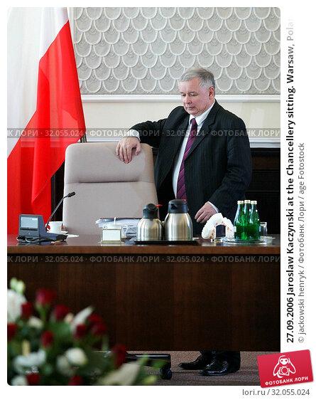 27.09.2006 Jaroslaw Kaczynski at the Chancellery sitting. Warsaw, Poland. Редакционное фото, фотограф jackowski henryk / age Fotostock / Фотобанк Лори