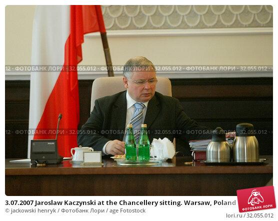 3.07.2007 Jaroslaw Kaczynski at the Chancellery sitting. Warsaw, Poland. Редакционное фото, фотограф jackowski henryk / age Fotostock / Фотобанк Лори