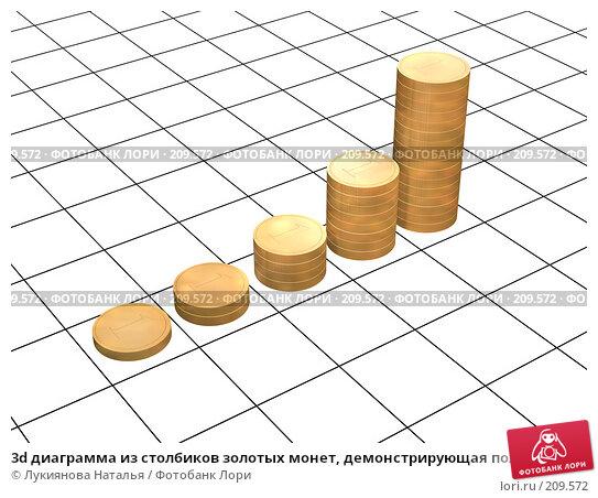 Купить «3d диаграмма из столбиков золотых монет, демонстрирующая положительные результаты», иллюстрация № 209572 (c) Лукиянова Наталья / Фотобанк Лори