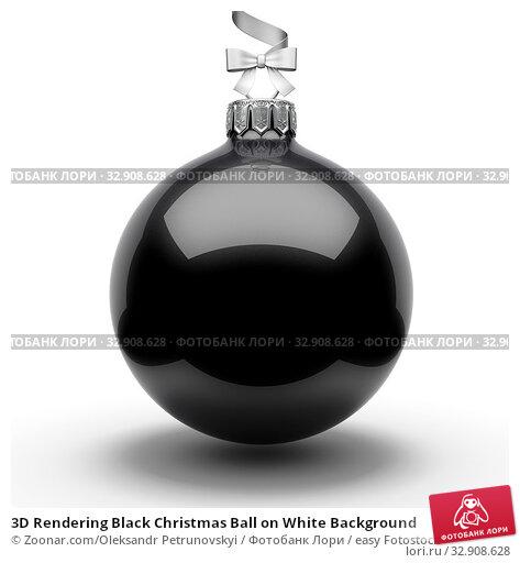 3D Rendering Black Christmas Ball on White Background. Стоковое фото, фотограф Zoonar.com/Oleksandr Petrunovskyi / easy Fotostock / Фотобанк Лори