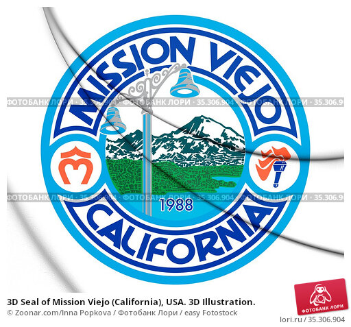 3D Seal of Mission Viejo (California), USA. 3D Illustration. Стоковое фото, фотограф Zoonar.com/Inna Popkova / easy Fotostock / Фотобанк Лори