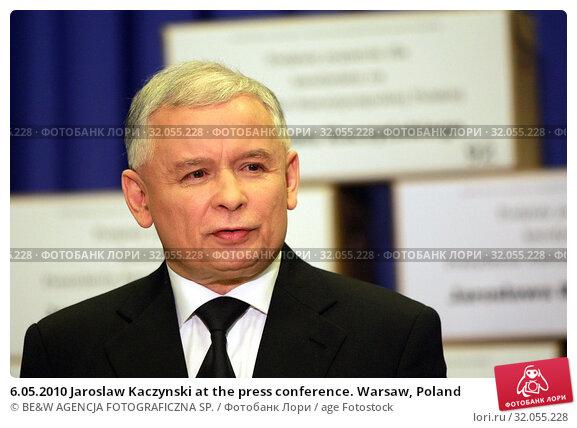 6.05.2010 Jaroslaw Kaczynski at the press conference. Warsaw, Poland. Редакционное фото, фотограф BE&W AGENCJA FOTOGRAFICZNA SP. / age Fotostock / Фотобанк Лори