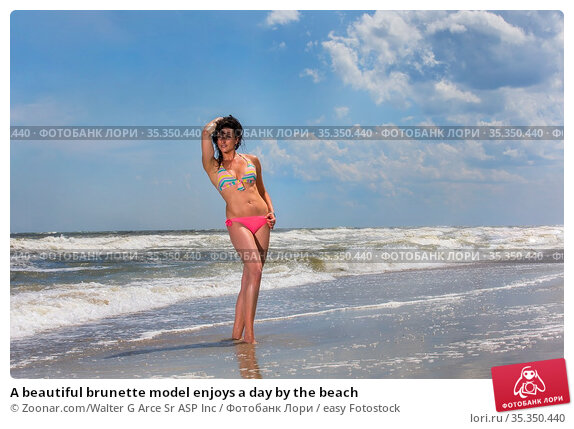 A beautiful brunette model enjoys a day by the beach. Стоковое фото, фотограф Zoonar.com/Walter G Arce Sr ASP Inc / easy Fotostock / Фотобанк Лори