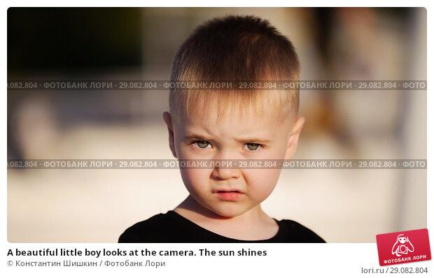 Купить «A beautiful little boy looks at the camera. The sun shines», фото № 29082804, снято 19 сентября 2018 г. (c) Константин Шишкин / Фотобанк Лори