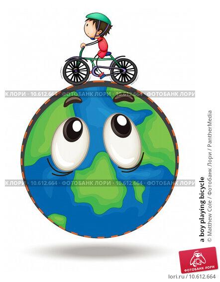 a boy playing bicycle. Стоковая иллюстрация, иллюстратор Matthew Cole / PantherMedia / Фотобанк Лори