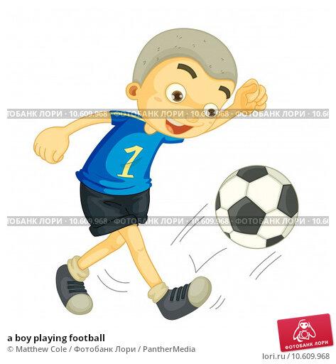 a boy playing football. Стоковая иллюстрация, иллюстратор Matthew Cole / PantherMedia / Фотобанк Лори