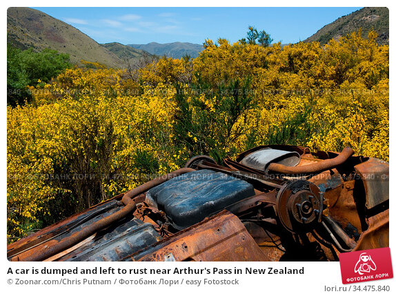 A car is dumped and left to rust near Arthur's Pass in New Zealand. Стоковое фото, фотограф Zoonar.com/Chris Putnam / easy Fotostock / Фотобанк Лори