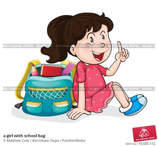 a girl with school bag. Стоковая иллюстрация, иллюстратор Matthew Cole / PantherMedia / Фотобанк Лори