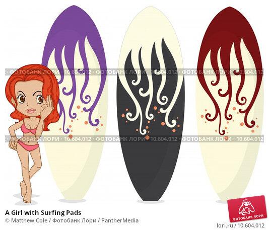 A Girl with Surfing Pads. Стоковая иллюстрация, иллюстратор Matthew Cole / PantherMedia / Фотобанк Лори