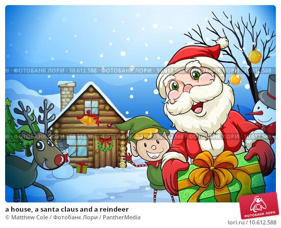 a house, a santa claus and a reindeer. Стоковая иллюстрация, иллюстратор Matthew Cole / PantherMedia / Фотобанк Лори