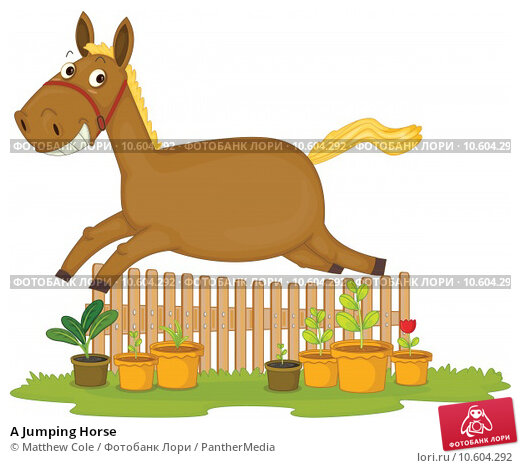 A Jumping Horse. Стоковая иллюстрация, иллюстратор Matthew Cole / PantherMedia / Фотобанк Лори