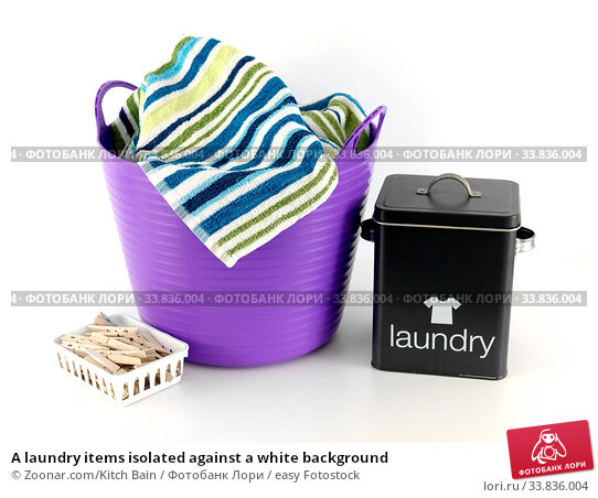 Купить «A laundry items isolated against a white background», фото № 33836004, снято 30 мая 2020 г. (c) easy Fotostock / Фотобанк Лори