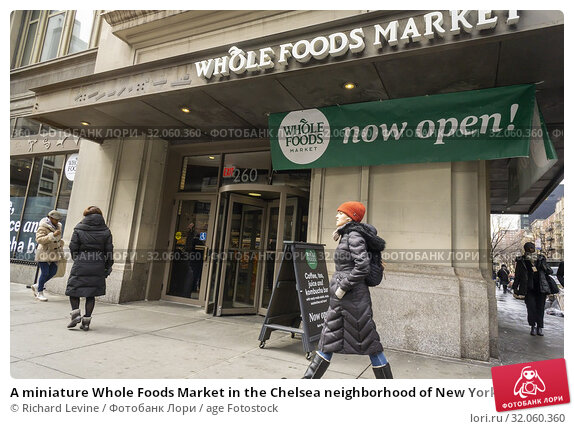 A miniature Whole Foods Market in the Chelsea neighborhood of New York on opening day, Friday, March , 2019. Located in the former space occupied by Whole... Редакционное фото, фотограф Richard Levine / age Fotostock / Фотобанк Лори