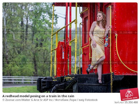 A redhead model posing on a train in the rain. Стоковое фото, фотограф Zoonar.com/Walter G Arce Sr ASP Inc / easy Fotostock / Фотобанк Лори