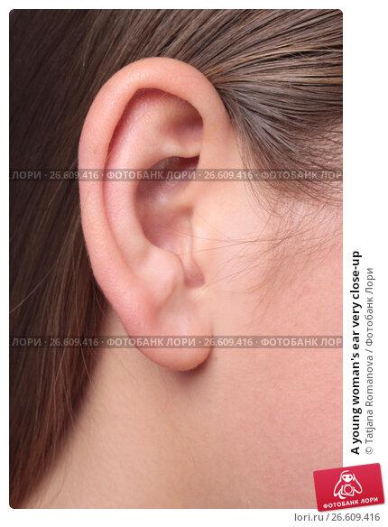 Купить «A young woman's ear very close-up», фото № 26609416, снято 27 января 2012 г. (c) Tatjana Romanova / Фотобанк Лори