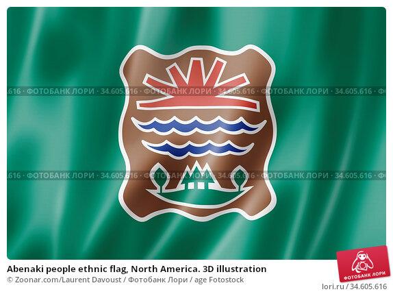 Abenaki people ethnic flag, North America. 3D illustration. Стоковое фото, фотограф Zoonar.com/Laurent Davoust / age Fotostock / Фотобанк Лори