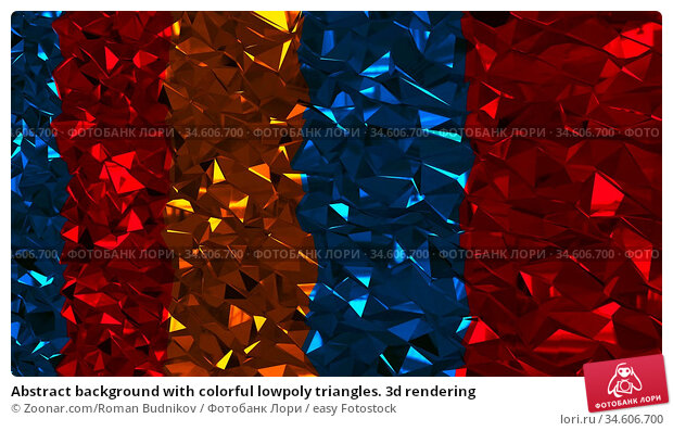 Abstract background with colorful lowpoly triangles. 3d rendering. Стоковое фото, фотограф Zoonar.com/Roman Budnikov / easy Fotostock / Фотобанк Лори