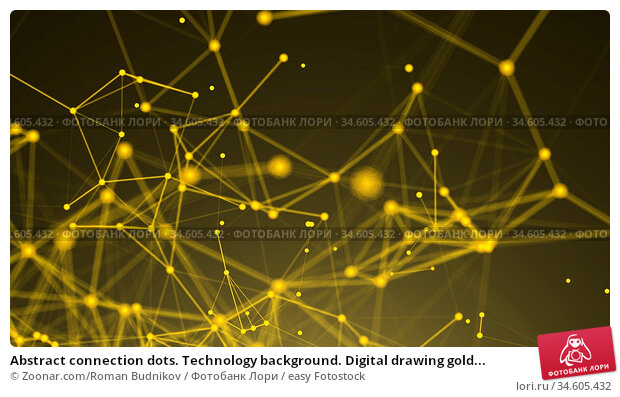 Abstract connection dots. Technology background. Digital drawing gold... Стоковое фото, фотограф Zoonar.com/Roman Budnikov / easy Fotostock / Фотобанк Лори