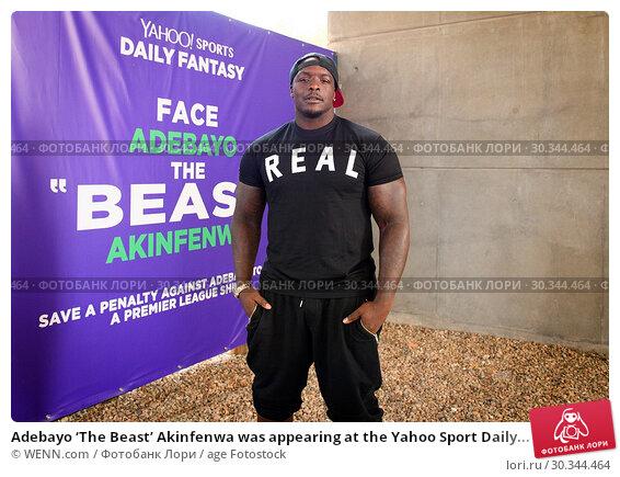 Купить «Adebayo 'The Beast' Akinfenwa was appearing at the Yahoo Sport Daily Fantasy Deadline Day Dugout event at Boxpark, Shoreditch. Featuring: Adebayo Akinfenwa...», фото № 30344464, снято 31 августа 2017 г. (c) age Fotostock / Фотобанк Лори
