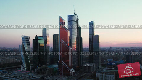 Aerial evening cityscape with Moscow downtown, Russia (2019 год). Редакционное видео, видеограф Данил Руденко / Фотобанк Лори