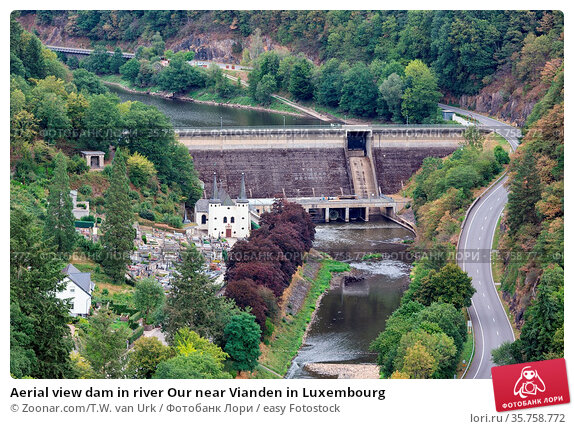 Aerial view dam in river Our near Vianden in Luxembourg. Стоковое фото, фотограф Zoonar.com/T.W. van Urk / easy Fotostock / Фотобанк Лори