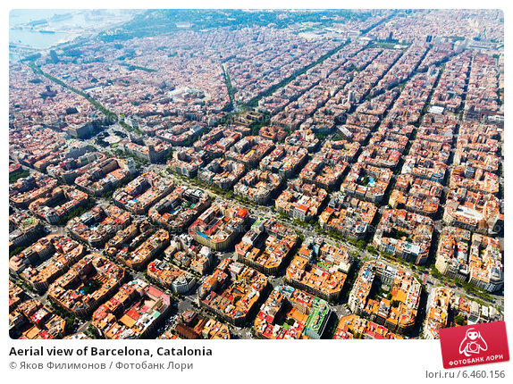 Купить «Aerial view of Barcelona, Catalonia», фото № 6460156, снято 1 августа 2014 г. (c) Яков Филимонов / Фотобанк Лори