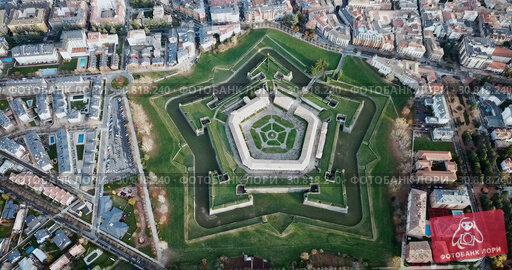 Купить «Aerial view of famous Citadel of Jaca on background of cityscape in sunny autumn day, Spain», видеоролик № 30818240, снято 23 декабря 2018 г. (c) Яков Филимонов / Фотобанк Лори
