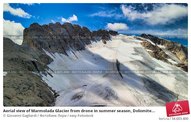 Aerial view of Marmolada Glacier from drone in summer season, Dolomite... Стоковое фото, фотограф Giovanni Gagliardi / easy Fotostock / Фотобанк Лори
