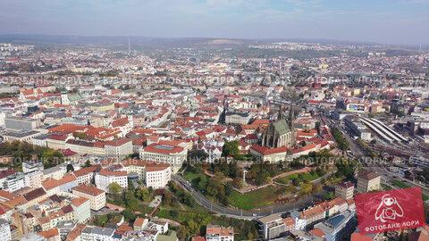 Aerial view on the city Brno. South Moravian region. Czech Republic. Стоковое видео, видеограф Яков Филимонов / Фотобанк Лори