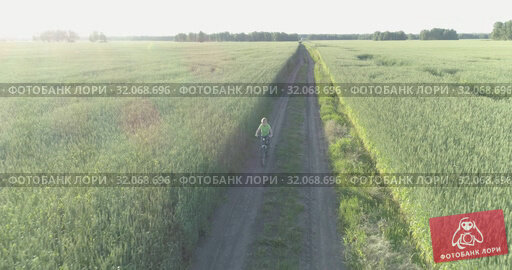 Aerial view on young boy, that rides a bicycle thru a wheat grass field on the old rural road. Sunlight and beams. Стоковое видео, видеограф Александр Маркин / Фотобанк Лори