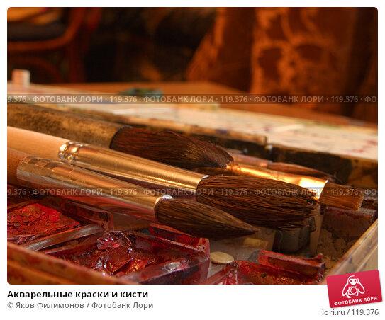Акварельные краски и кисти, фото № 119376, снято 10 ноября 2007 г. (c) Яков Филимонов / Фотобанк Лори