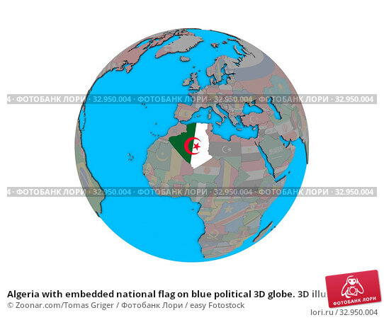 Algeria with embedded national flag on blue political 3D globe. 3D illustration isolated on white background. Стоковое фото, фотограф Zoonar.com/Tomas Griger / easy Fotostock / Фотобанк Лори