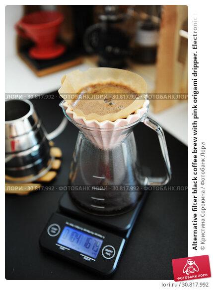 Купить «Alternative filter black coffee brew with pink origami dripper. Electronic timer scale. Specialty concept», фото № 30817992, снято 14 мая 2019 г. (c) Кристина Сорокина / Фотобанк Лори