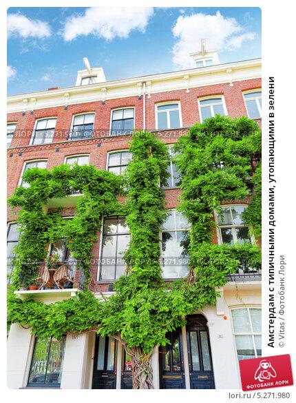 Амстердам с типичными домами, утопающими в зелени (2013 год). Стоковое фото, фотограф Vitas / Фотобанк Лори