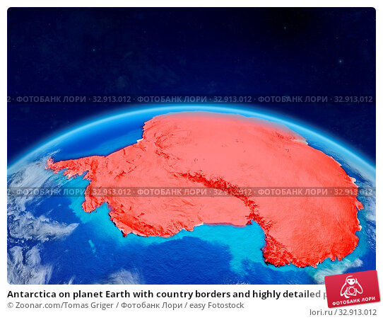 Antarctica on planet Earth with country borders and highly detailed planet surface and clouds. 3D illustration. Elements of this image furnished by NASA. Стоковое фото, фотограф Zoonar.com/Tomas Griger / easy Fotostock / Фотобанк Лори