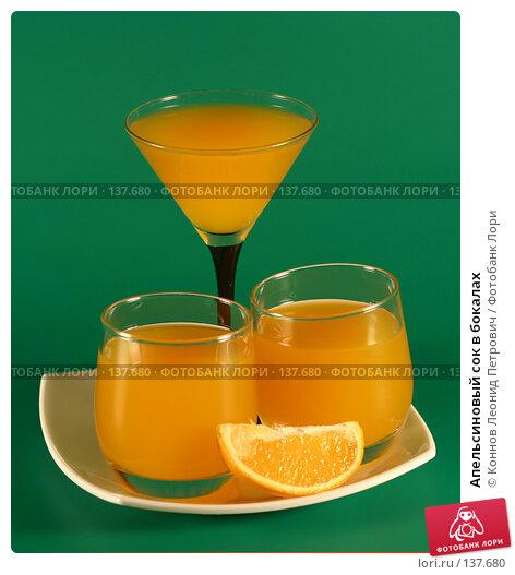 Апельсиновый сок в бокалах, фото № 137680, снято 5 декабря 2007 г. (c) Коннов Леонид Петрович / Фотобанк Лори