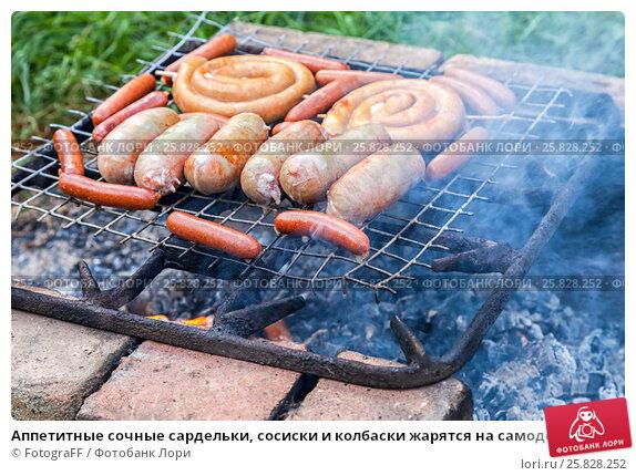 Купить «Аппетитные сочные сардельки, сосиски и колбаски жарятся на самодельном гриле во время пикника на природе в летний солнечный день», фото № 25828252, снято 22 февраля 2019 г. (c) FotograFF / Фотобанк Лори