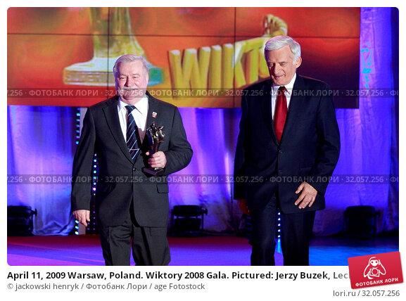 April 11, 2009 Warsaw, Poland. Wiktory 2008 Gala. Pictured: Jerzy Buzek, Lech Walesa. Редакционное фото, фотограф jackowski henryk / age Fotostock / Фотобанк Лори