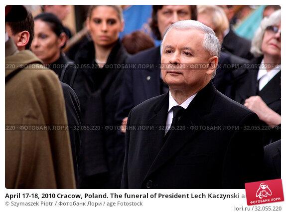 April 17-18, 2010 Cracow, Poland. The funeral of President Lech Kaczynski and his wife Maria who died in the Smolensk plane crash. Pictured: Jaroslaw Kaczynski. Редакционное фото, фотограф Szymaszek Piotr / age Fotostock / Фотобанк Лори