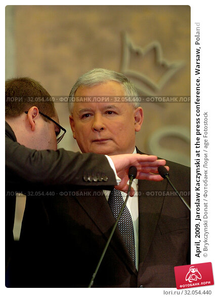 April, 2009. Jaroslaw Kaczynski at the press conference. Warsaw, Poland. Редакционное фото, фотограф Brykczynski Donat / age Fotostock / Фотобанк Лори